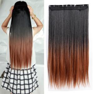 Larga-DIP-Clip-en-extensiones-de-cabello-25-pulgadas-63-CM-recta-negro-marron-rubio-castano