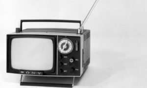 circa 1970: The latest model of the Sony Micro Television which can be operated by batteries. (Photo by Keystone/Getty Images)